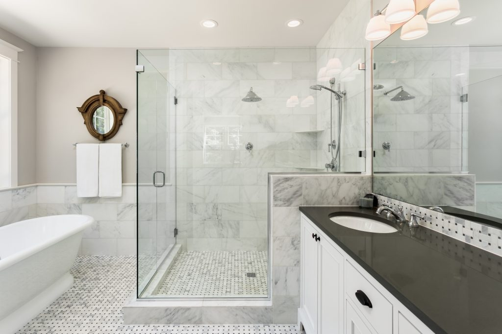 modern bathroom with tile that was regrouted